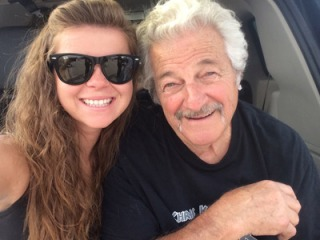 Chris Karamesines, right, and granddaughter Krista Baldwin, who will compete in the same NHRA national event for the first time this weekend in Charlotte, N.C.