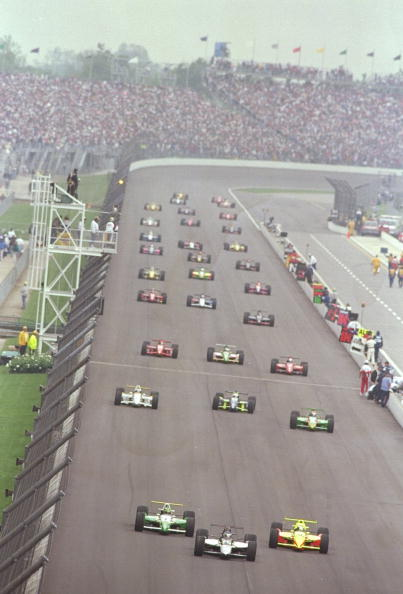 Pace laps in 1996 Indy 500. Mandatory Credit: Matthew Stockman /Allsport