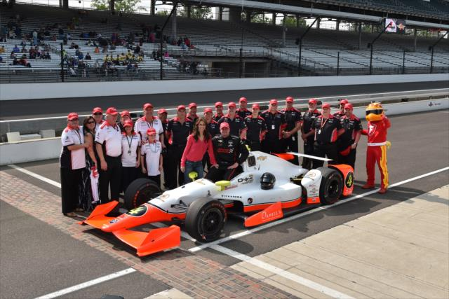 Lazier and the Lazier/Burns Racing team. Photo: IndyCar