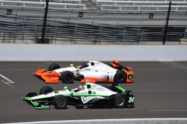 Lazier (4) and Karam (24). Photo: IndyCar
