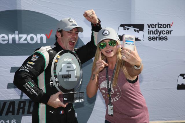 Pagenaud and girlfriend Hailey McDermott after Pagenaud won Verizon P1 Award. Photo: IndyCar