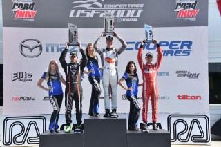 Lloyd, Martin, Gabin on all-Australian USF2000 podium. Photo: Indianapolis Motor Speedway, LLC Photography