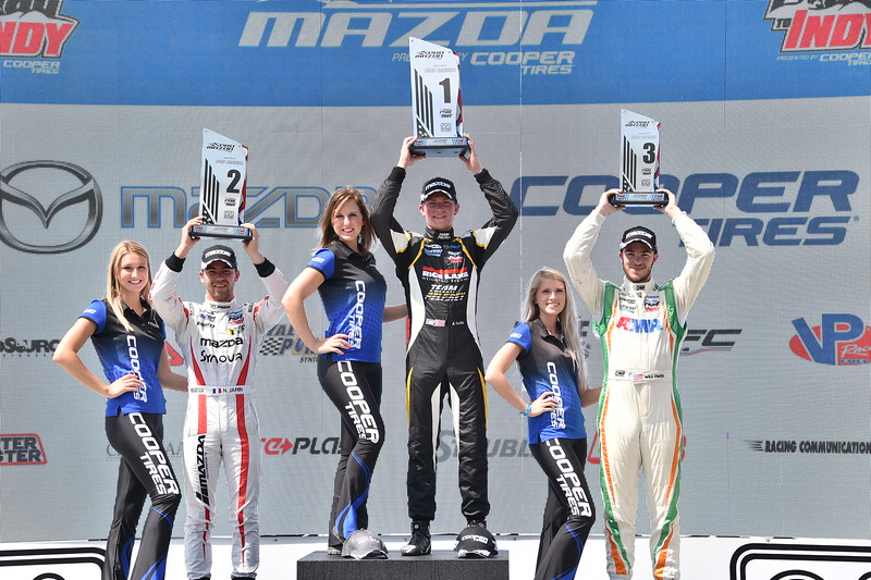 Second race podium. Photo: Indianapolis Motor Speedway, LLC Photography