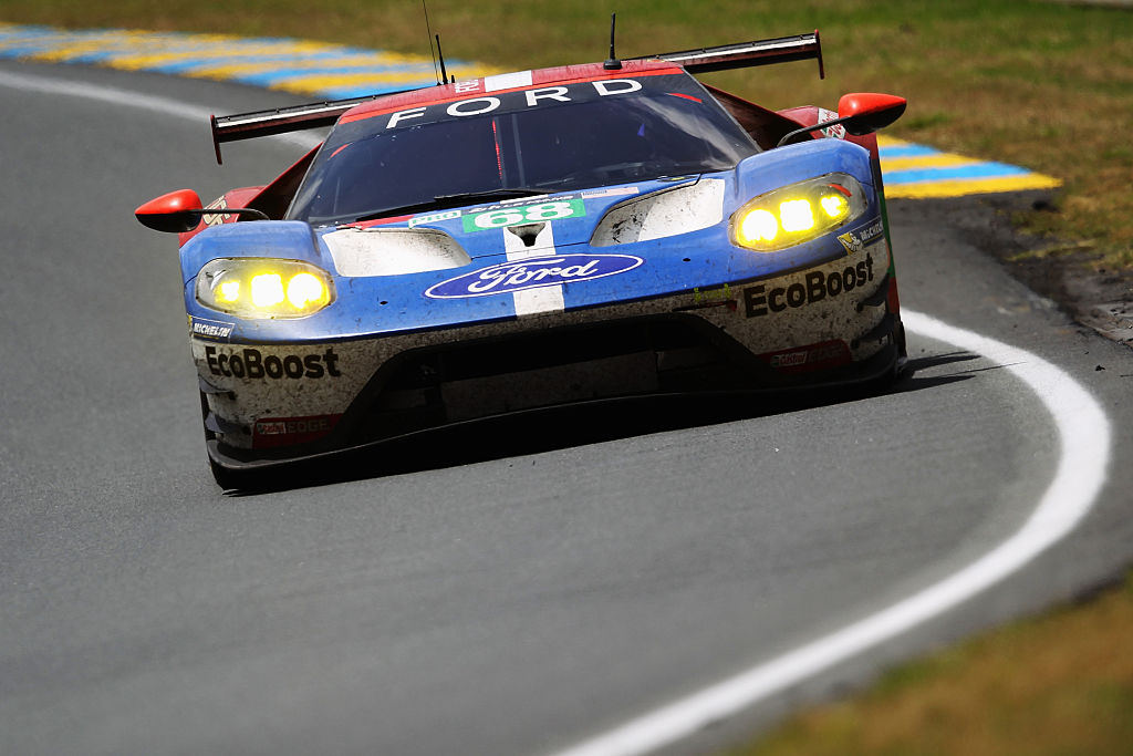 LE MANS, FRANCE - JUNE 19:  The Chip Ganassi Racing Ford GT of Sebastien Bourdais, Joey Hand and Dirk Muller drives during the Le Mans 24 Hour race at the Circuit de la Sarthe on June 19, 2016 in Le Mans, France.  (Photo by Ker Robertson/Getty Images)
