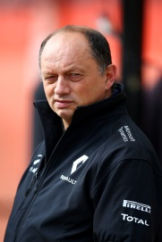 MONTMELO, SPAIN - FEBRUARY 22: Renault Sport Racing Director Frederic Vasseur looks on in the pit lane during day one of F1 winter testing at Circuit de Catalunya on February 22, 2016 in Montmelo, Spain. (Photo by Mark Thompson/Getty Images)