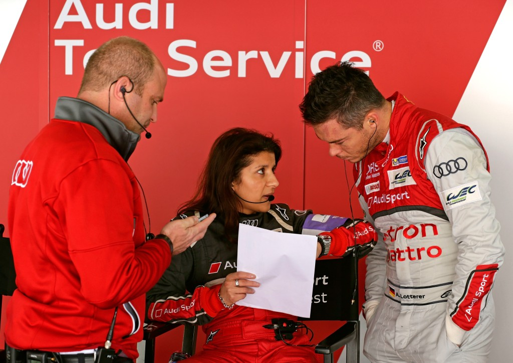 Andreas Roos (Project Manager Racing LMP), Leena Gade (Vehicle Engineer Audi R18 e-tron quattro #2), André Lotterer
