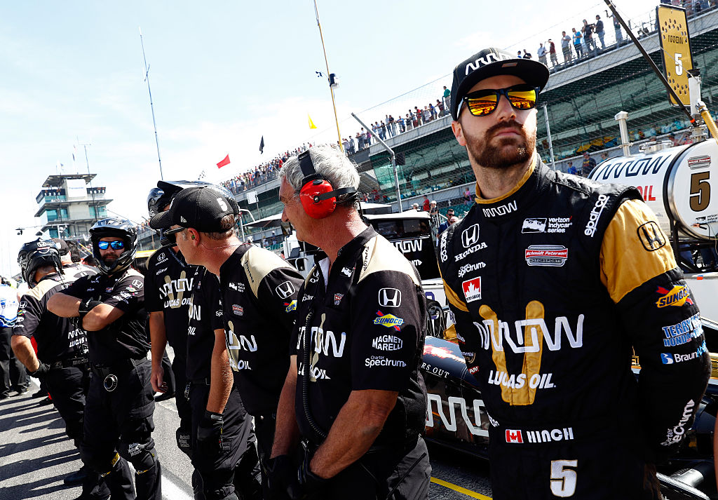 INDIANAPOLIS, IN - MAY 27: James Hinchcliffe, driver of the #5 Honda Dallara, prepares to practice during Carb Day ahead of the 100th running of the Indianapolis 500 at Indianapolis Motorspeedway on May 27, 2016 in Indianapolis, Indiana. (Photo by Jamie Squire/Getty Images)