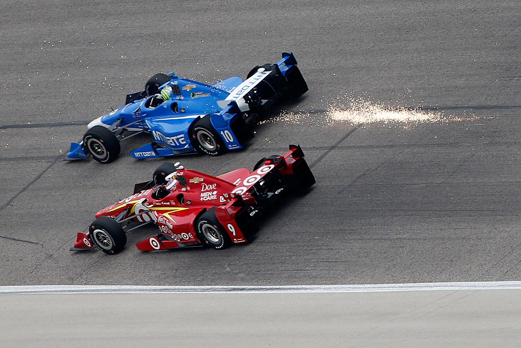 FORT WORTH, TX - JUNE 12:  Tony Kanaan of Brazil, driver of the #10 NTT Data Chip Ganassi Racing Chevrolet, races Scott Dixon of New Zealand, driver of the #9 Target Chip Ganassi Racing Chevrolet, during the Verizon IndyCar Series Firestone 600 at Texas Motor Speedway on June 12, 2016 in Fort Worth, Texas.  (Photo by Brian Lawdermilk/Getty Images for Texas Motor Speedways)