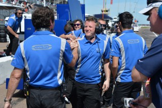 Trevor Carlin with his team. Photo: Indianapolis Motor Speedway, LLC Photography