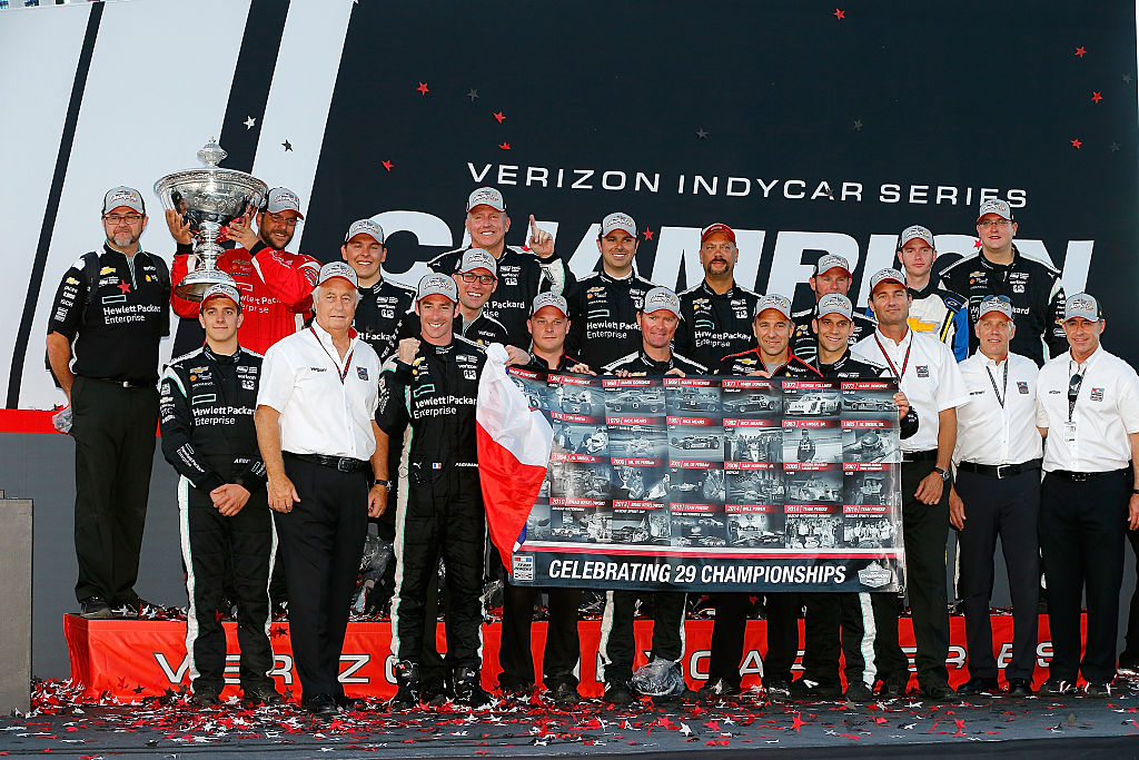SONOMA, CA - SEPTEMBER 18: Simon Pagenaud of France driver of the #22 Team Penske Hewlett Packard Chevrolet Dallara celebrates winning the IndyCar Series championship with his crew and team onwer roger Penske after his victory at the GoPro Grand Prix of Sonoma at Sonoma Raceway on September 18, 2016 in Sonoma, California. (Photo by Jonathan Ferrey/Getty Images)
