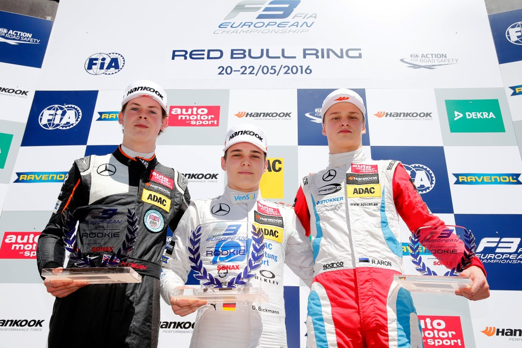Newey (left) on the rookie podium at the Red Bull Ring earlier this year (© FIA F3)