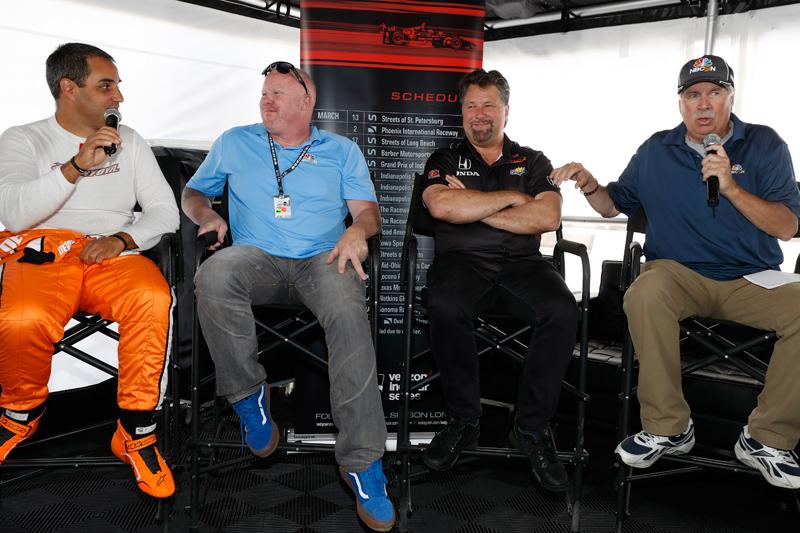 "Montoya, ""PT,"" Andretti and Miller. Photo: LAT Photo USA"