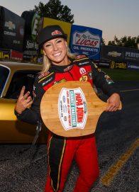 Leah wins pizza race