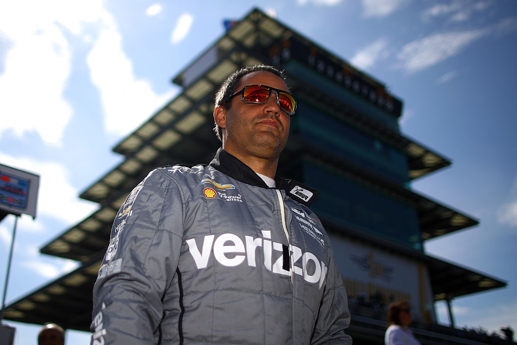 INDIANAPOLIS, IN - MAY 27: Juan Pablo Montoya of Columbia, driver of the #2 Verizon Team Penske Chevrolet prepares to practice on Carb Day ahead of the 100th running of the Indianapolis 500 at Indianapolis Motorspeedway on May 27, 2016 in Indianapolis, Indiana. (Photo by Chris Graythen/Getty Images)