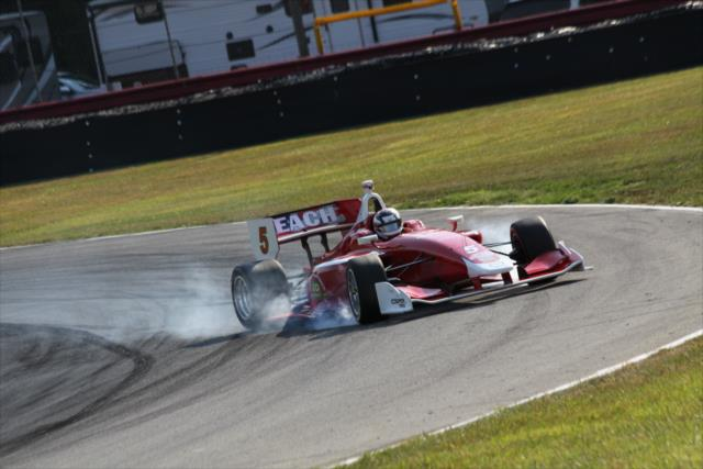 Zach Veach locks it up at Mid-Ohio. Photo: Indianapolis Motor Speedway, LLC Photography