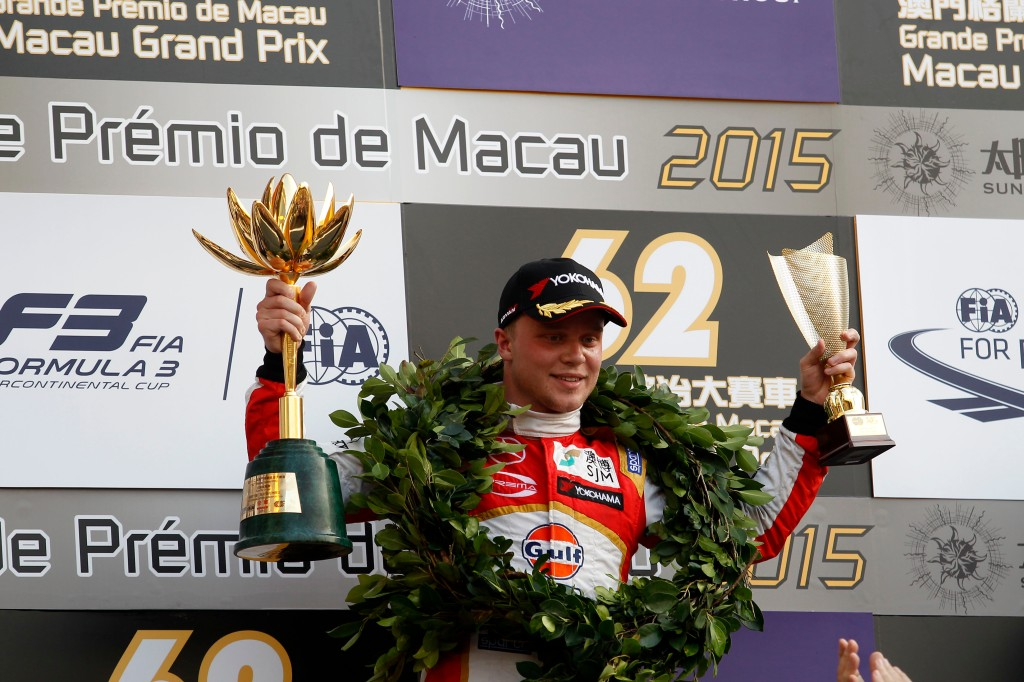 2015 Macau Formula 3 Grand Prix Circuit de Guia, Macau, China 18th - 22nd November 2015 Winner Felix Rosenqvist (SWE) SJM Theodore Racing by Prema Powerteam Dallara Mercedes © XPB Images/LAT Photographic
