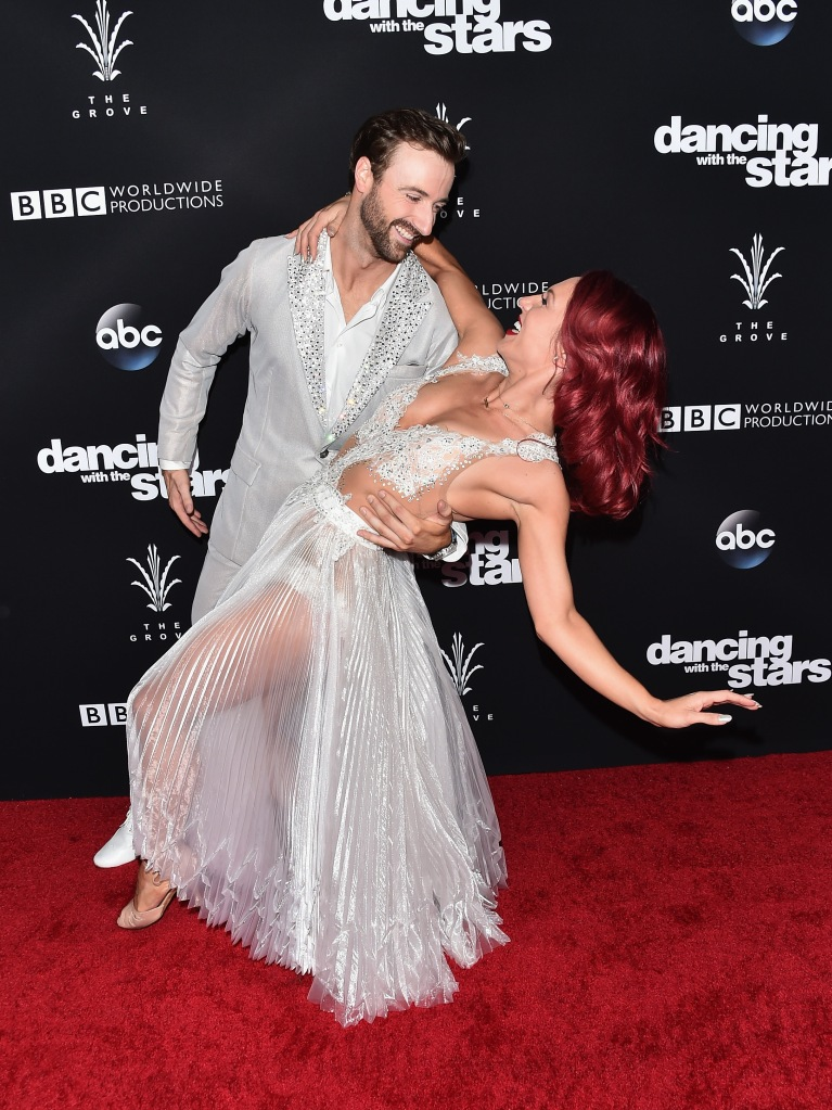 "LOS ANGELES, CA - NOVEMBER 22: Professional dancer Sharna Burgess and professional race car driver James Hinchcliffe attends ABC's ""Dancing With The Stars"" Season 23 Finale at The Grove on November 22, 2016 in Los Angeles, California. (Photo by Alberto E. Rodriguez/Getty Images)"