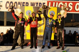 Sunday's season-ending race winners in the Auto Club Finals, from left: Greg Anderson (Pro Stock), Tommy Johnson Jr. (Funny Car), Doug Kalitta (Top Fuel) and Matt Smith (Pro Stock Motorcycle).