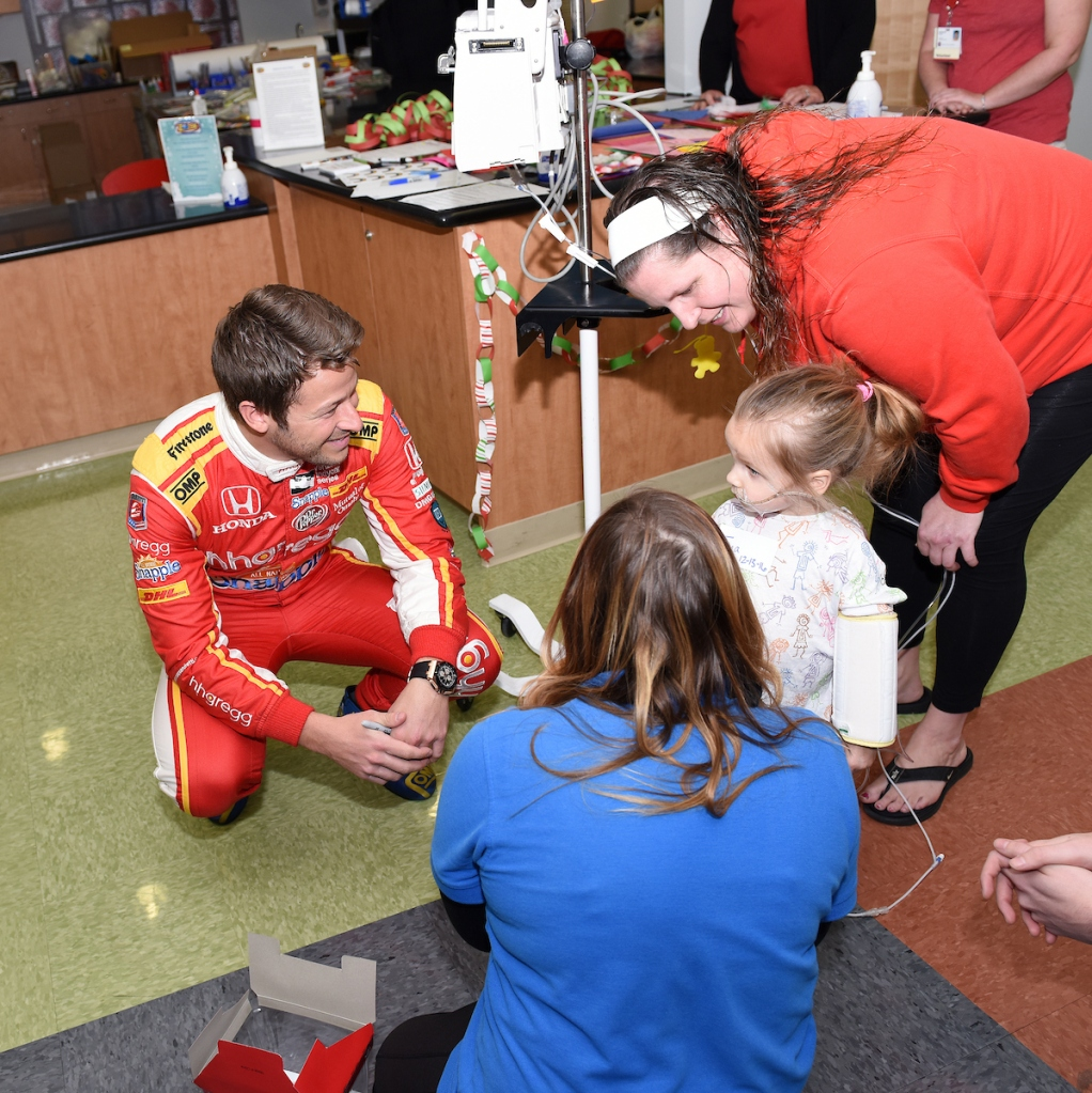 Marco Andretti's visit to Riley Hospital for Children at Indiana University Health on Dec. 13, 2016. (Photos by IU Health/Mike Dickbernd)