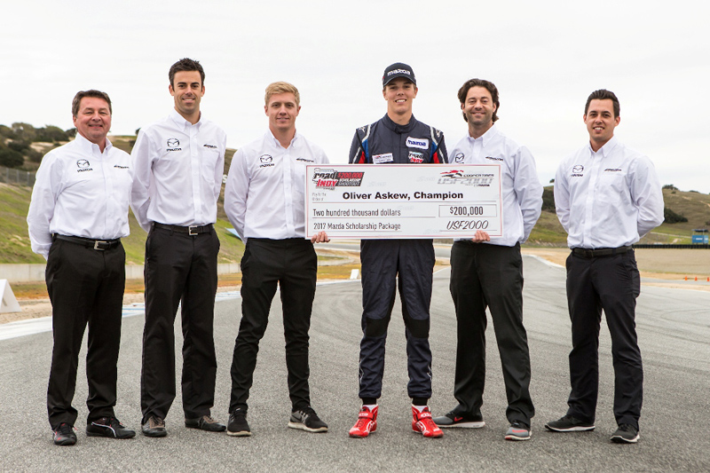 Left to right: Scott Goodyear, Joel Miller, Spencer Pigot, Oliver Askew, Jonathan Bomarito, Andrew Carbonell.
