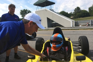 Byrne coaching at Lime Rock. Photo courtesy Lucas Oil School of Racing