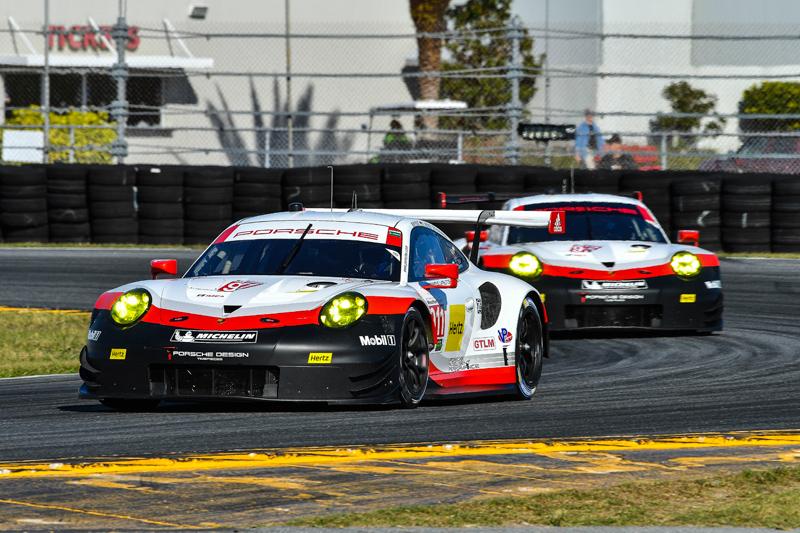 Nos. 911 and 912 Porsche GT Team Porsche 911 RSR. Photo courtesy of IMSA