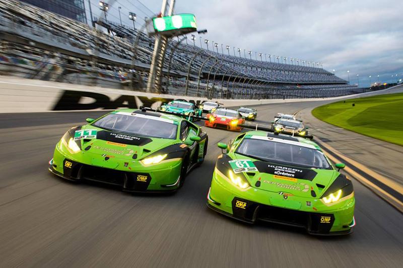 All 8 Lamborghini Huracán GT3s. Photo: Jamey Price/Lamborghini