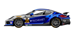 No. 35 Porsche Cayman GT4. Rendering by Andy Blackmore Design; photo courtesy CJ Wilson Racing