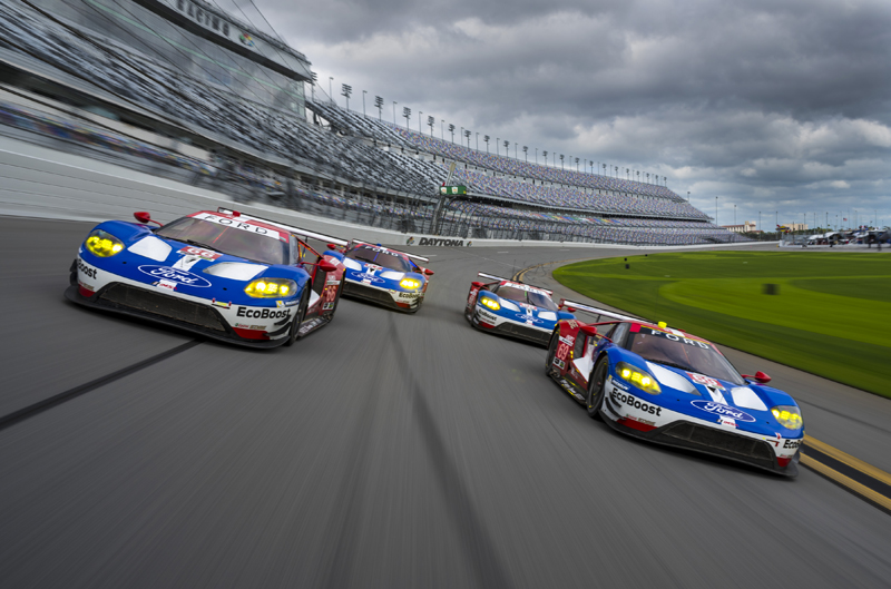 All four Ford GTs. Photo: Wes Duenkel/Ford Performance
