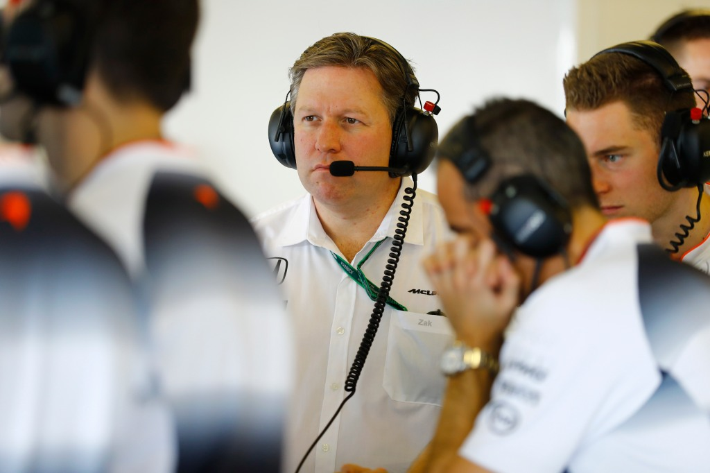 Zak Brown in the garage.