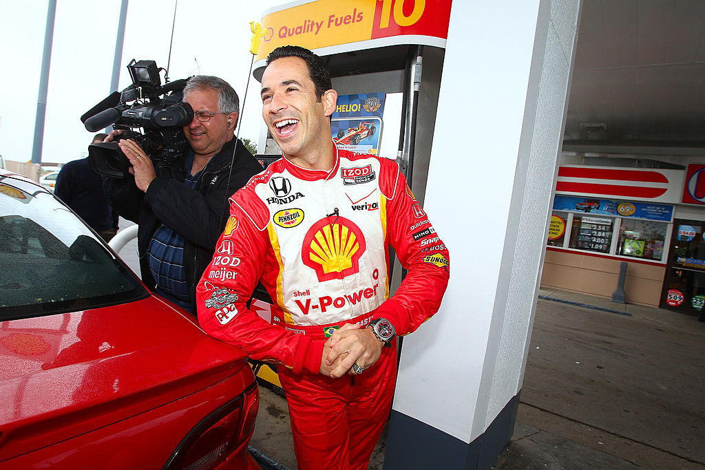 INDIANAPOLIS, IN - MAY 17: Helio Castroneves appears at a Shell station on May 17, 2011 in Indianapolis, Indiana. (Photo by Michael Hickey/Getty Images for MATTER)