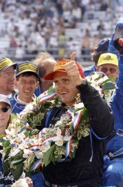 24 May 1998: Eddie Cheever Jr. #51 gives the thumbs up after winning the 82nd Indy 500 at the Indianapolis Motor Speedway in Indianapolis, Indiana. Mandatory Credit: Vincent Laforet /Allsport