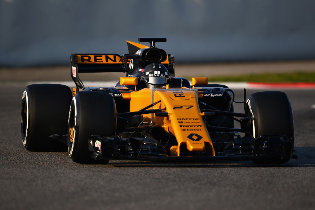 MONTMELO, SPAIN - FEBRUARY 27: Nico Hulkenberg of Germany driving the (27) Renault Sport Formula One Team Renault RS17 on track during day one of Formula One winter testing at Circuit de Catalunya on February 27, 2017 in Montmelo, Spain. (Photo by Dan Istitene/Getty Images)