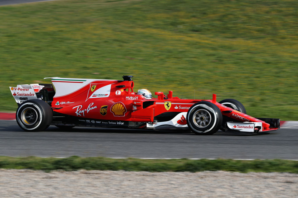 MONTMELO, SPAIN - FEBRUARY 27: Sebastian Vettel of Germany driving the (5) Scuderia Ferrari SF70H on track during day one of Formula One winter testing at Circuit de Catalunya on February 27, 2017 in Montmelo, Spain. (Photo by Mark Thompson/Getty Images)