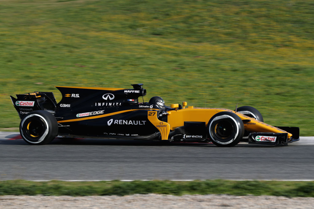 MONTMELO, SPAIN - FEBRUARY 27: Nico Hulkenberg of Germany driving the (27) Renault Sport Formula One Team Renault RS17 on track during day one of Formula One winter testing at Circuit de Catalunya on February 27, 2017 in Montmelo, Spain. (Photo by Mark Thompson/Getty Images)