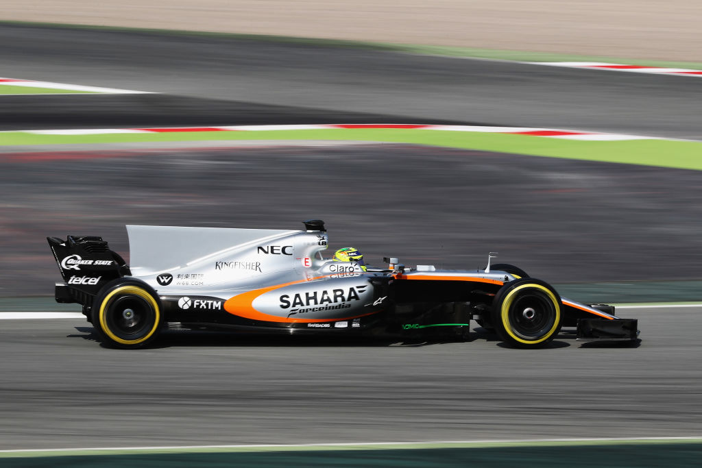 MONTMELO, SPAIN - FEBRUARY 27: Sergio Perez of Mexico driving the (11) Sahara Force India F1 Team VJM10 on track during day one of Formula One winter testing at Circuit de Catalunya on February 27, 2017 in Montmelo, Spain. (Photo by Mark Thompson/Getty Images)