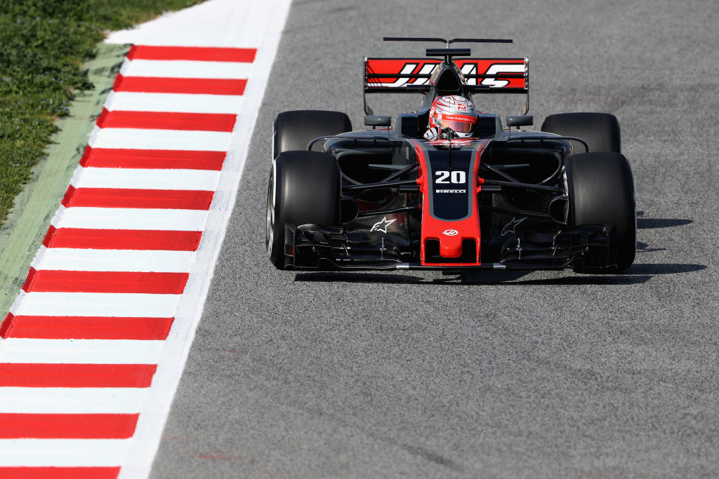 MONTMELO, SPAIN - FEBRUARY 27: Kevin Magnussen of Denmark driving the (20) Haas F1 Team Haas-Ferrari VF-17 Ferrari on track during day one of Formula One winter testing at Circuit de Catalunya on February 27, 2017 in Montmelo, Spain. (Photo by Mark Thompson/Getty Images)