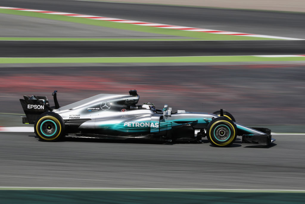 MONTMELO, SPAIN - FEBRUARY 27: Valtteri Bottas driving the (77) Mercedes AMG Petronas F1 Team Mercedes F1 WO8 on track during day one of Formula One winter testing at Circuit de Catalunya on February 27, 2017 in Montmelo, Spain. (Photo by Mark Thompson/Getty Images)