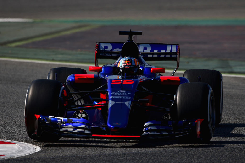 MONTMELO, SPAIN - FEBRUARY 27: Carlos Sainz of Spain driving the (55) Scuderia Toro Rosso STR12 on track during day one of Formula One winter testing at Circuit de Catalunya on February 27, 2017 in Montmelo, Spain. (Photo by Dan Istitene/Getty Images)