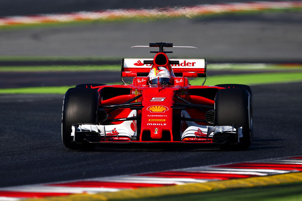 MONTMELO, SPAIN - FEBRUARY 27: Sebastian Vettel of Germany driving the (5) Scuderia Ferrari SF70H on track during day one of Formula One winter testing at Circuit de Catalunya on February 27, 2017 in Montmelo, Spain. (Photo by Dan Istitene/Getty Images)