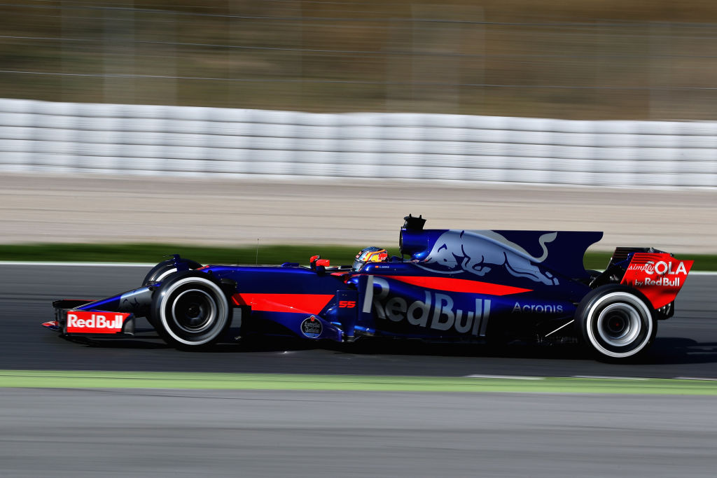 MONTMELO, SPAIN - FEBRUARY 27: Carlos Sainz of Spain driving the (55) Scuderia Toro Rosso STR12 on track during day one of Formula One winter testing at Circuit de Catalunya on February 27, 2017 in Montmelo, Spain. (Photo by Mark Thompson/Getty Images)