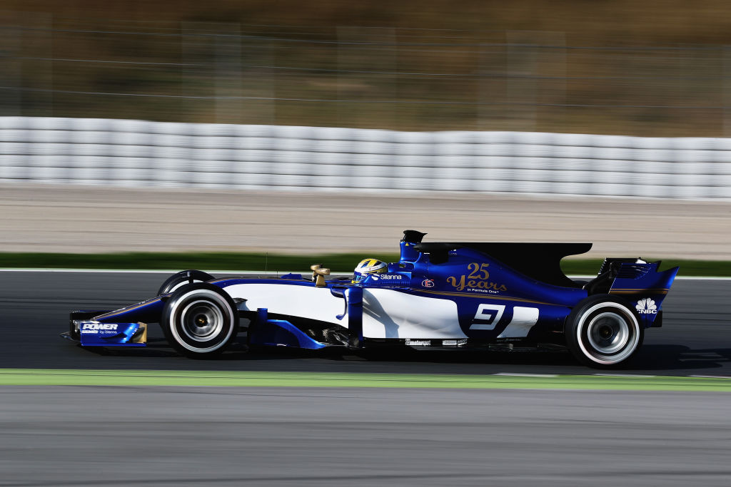 MONTMELO, SPAIN - FEBRUARY 27: Marcus Ericsson of Sweden driving the (9) Sauber F1 Team Sauber C36 Ferrari on track during day one of Formula One winter testing at Circuit de Catalunya on February 27, 2017 in Montmelo, Spain. (Photo by Mark Thompson/Getty Images)
