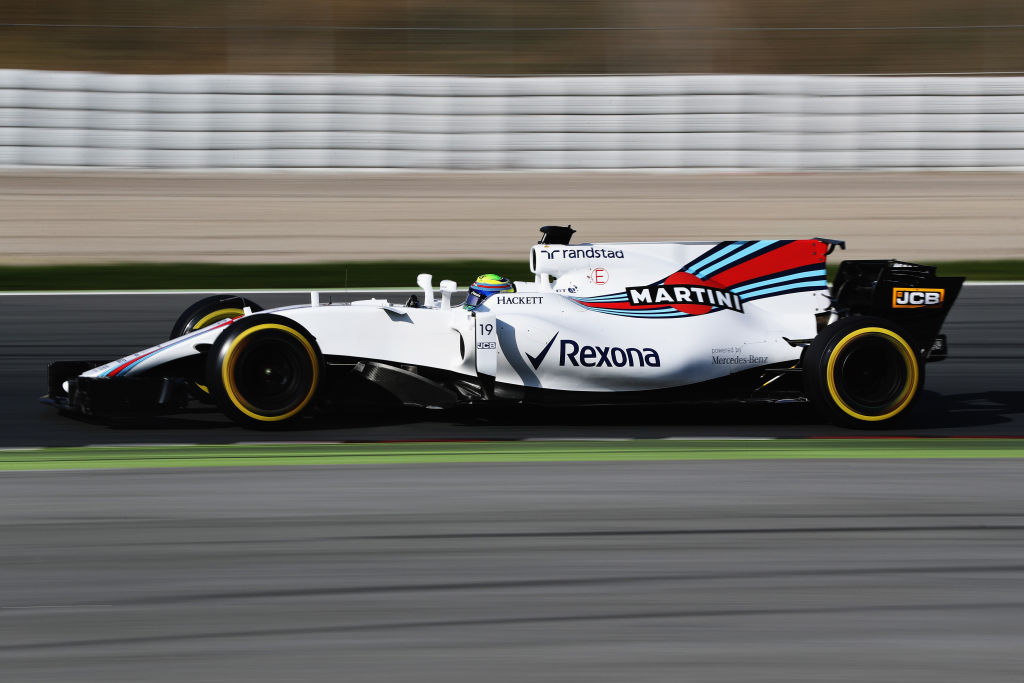 MONTMELO, SPAIN - FEBRUARY 27: Felipe Massa of Brazil driving the (19) Williams Martini Racing Williams FW40 Mercedes on track during day one of Formula One winter testing at Circuit de Catalunya on February 27, 2017 in Montmelo, Spain. (Photo by Mark Thompson/Getty Images)