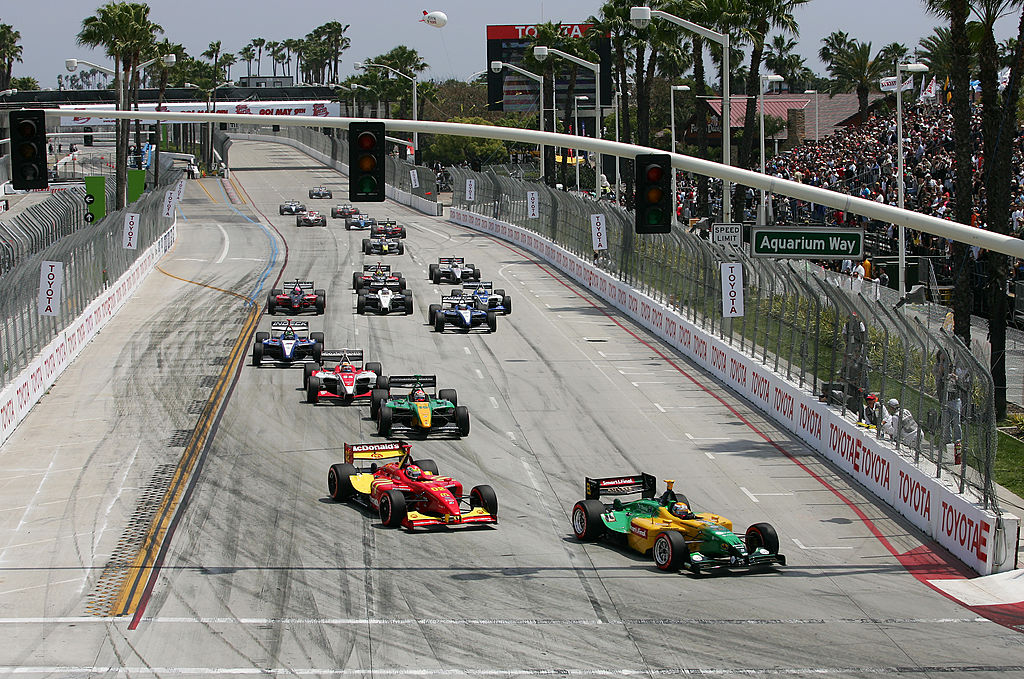 LONG BEACH, CA - APRIL 20: Will Power of Australia, driver of the #8 KV Racing Technology DP01 Ford Cosworth, leads the field at the start of the Champ Car World Series Toyota Grand Prix of Long Beach April 20, 2008 in Long Beach, California. (Photo by Robert Laberge/Getty Images)