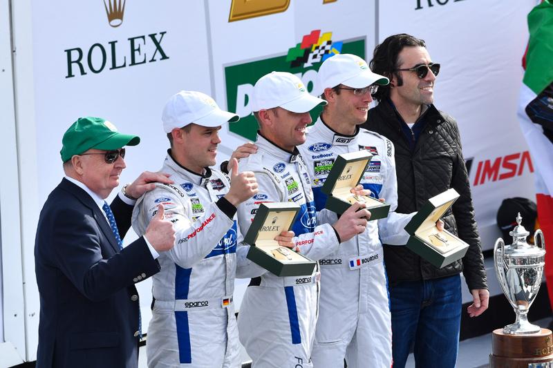 Mueller, Hand, Bourdais and race grand marshal Dario Franchitti. Photo courtesy of IMSA