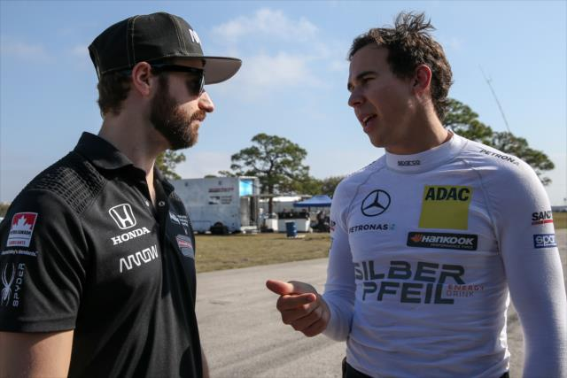 Hinchcliffe and Wickens prep for Wickens' maiden run in an IndyCar. Photo: IndyCar