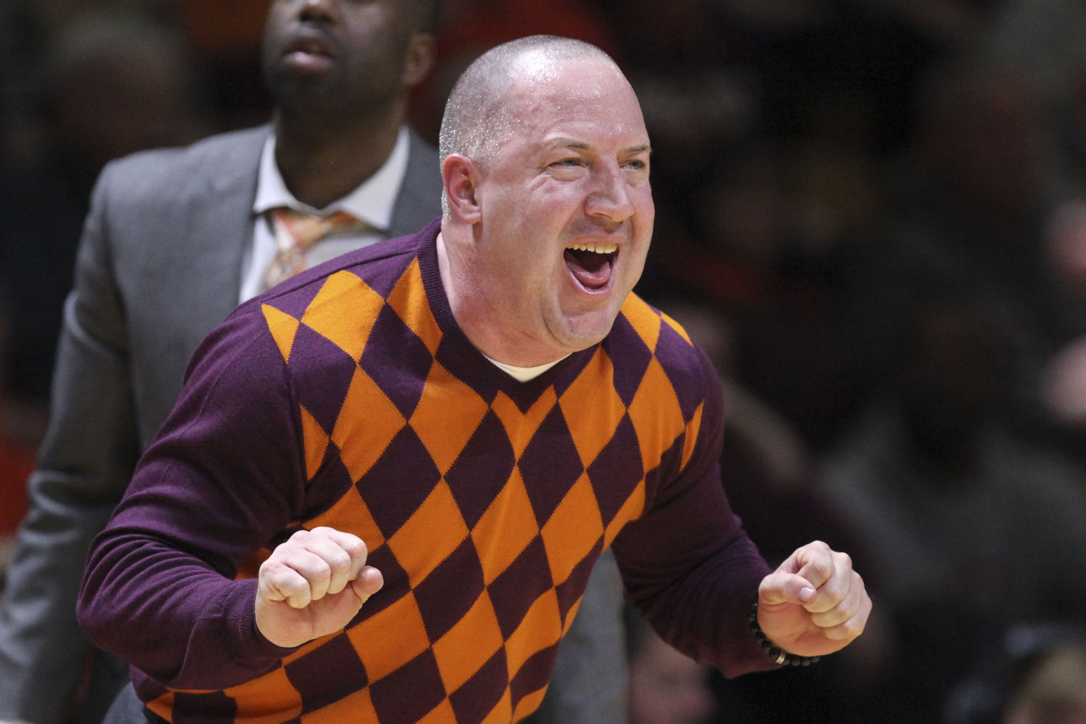 Virginia Tech head coach Buzz Williams celebrates in the final moments of the Virginia Tech, Georgia Tech NCAA basketball game in Blacksburg, Va., Monday, Feb. 9, 2015. Virginia Tech won 65-63.  (AP Photo / The Roanoke Times, Matt Gentry)    LOCAL TELEVISION OUT; SALEM TIMES REGISTER OUT; FINCASTLE HERALD OUT;  CHRISTIANBURG NEWS MESSENGER OUT; RADFORD NEWS JOURNAL OUT; ROANOKE STAR SENTINEL OUT