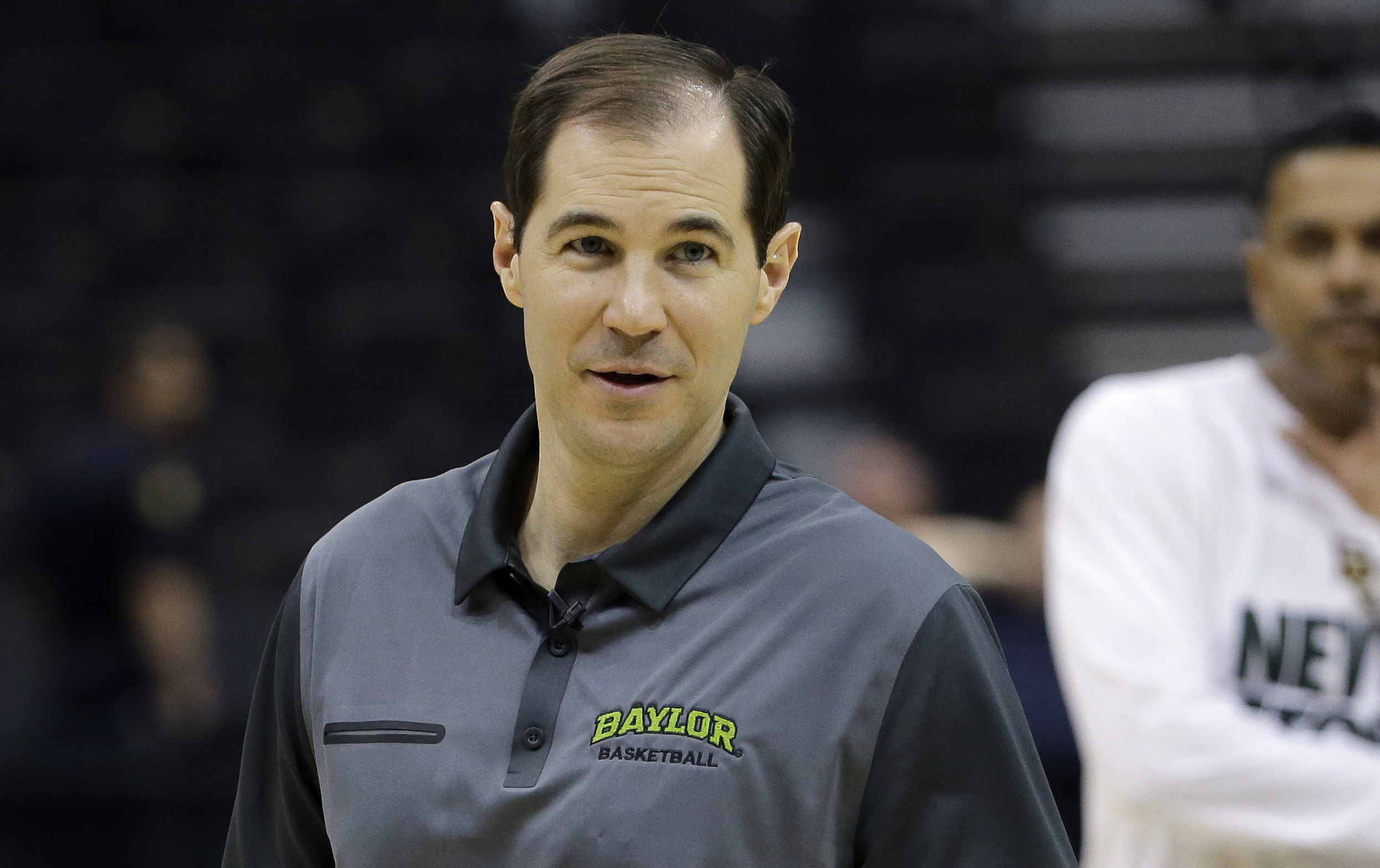 Baylor head coach Scott Drew smiles during practice at the NCAA college basketball tournament, Wednesday, March 18, 2015, in Jacksonville, Fla. Baylor plays Georgia State in the second round on Thursday. (AP Photo/Chris O'Meara)