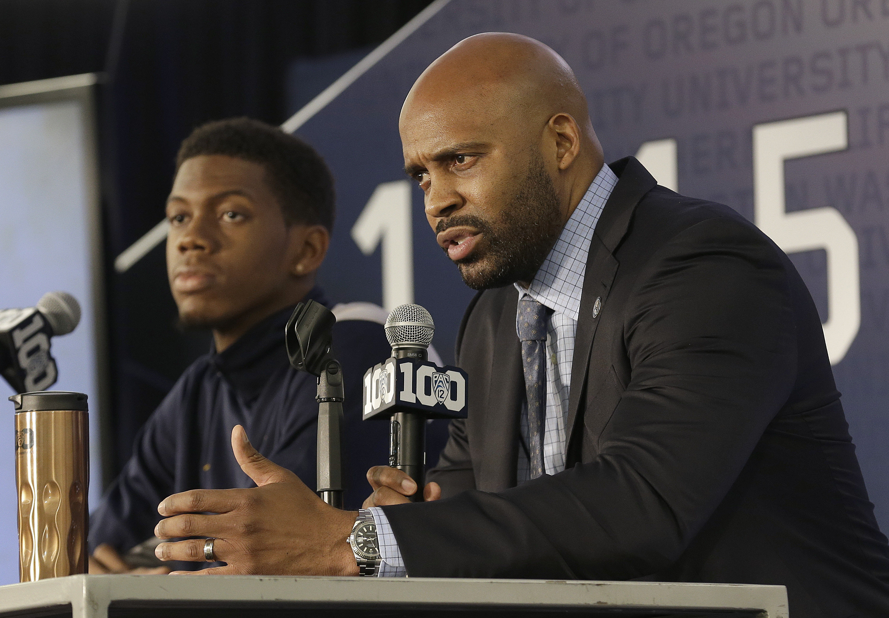 Cuonzo Martin and Tyrone Wallace at media day, AP Photo