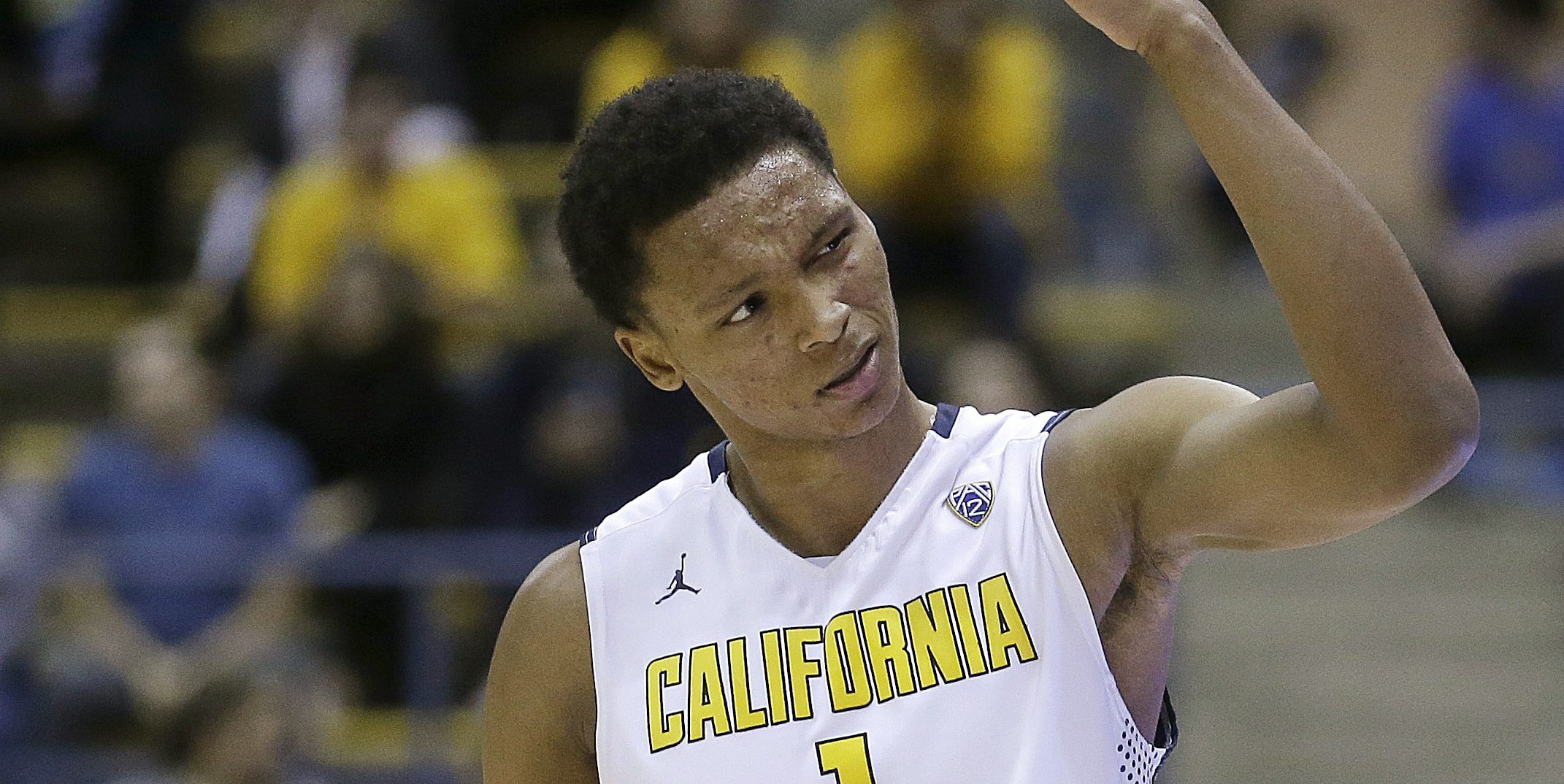 California's Ivan Rabb encourages the crowd to cheer in the second half of an NCAA college basketball game against Saint Mary's Saturday, Dec. 12, 2015, in Berkeley, Calif. (AP Photo/Ben Margot)